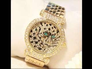 Luxury Rose Gold, Gold, And Silver Leopard Diamond Crystal Ladies Watch( Preorder)