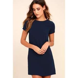 Navy slit shift dress