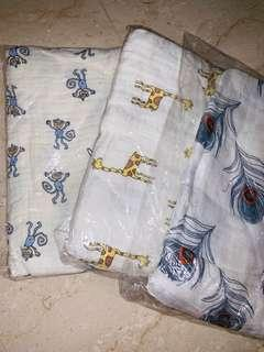 🚚 New Aden + Anais 3 swaddles 1-layer cotton muslin blanket 3 designs brand new without box