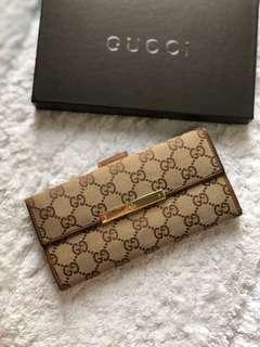 Gucci GG Monogram Canvas Leather Long Wallet