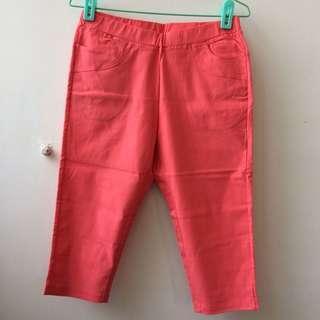 🚚 桃🍑粉色彈性六分褲