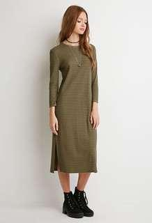 🚚 Forever21 Green Ribbed Midi Dress