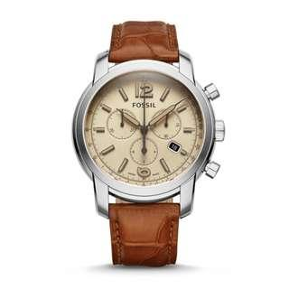 🚚 FOSSIL SWISS FS-5 SERIES CHRONOGRAPH ALLIGATOR LEATHER WATCH