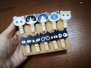 Cat kitty Wooden clip set