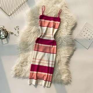 Stripes Angels Bodycon Dress