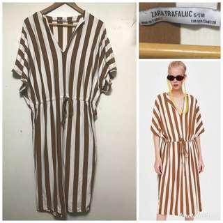 zara striped brown dress