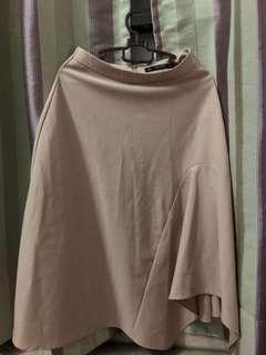 Zara Nude MIDI Flare Skirt