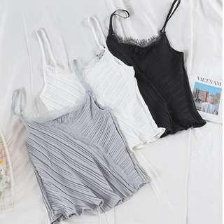 Better Pleated Camisole Lace Top
