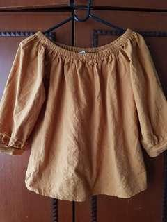 Mustard Off Shoulder Blouse