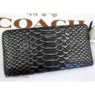 Coach Skinny Wallet In Exotic Embossed Leather / Dark Gunmetal. 60% OFF Clearance Sales original price: MYR465!