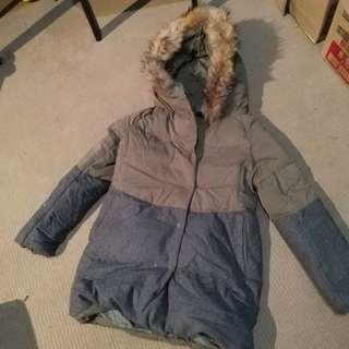 Army green and grey winter coat padded