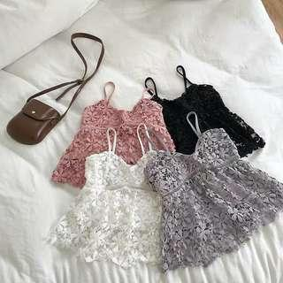 [PO] lace spag top