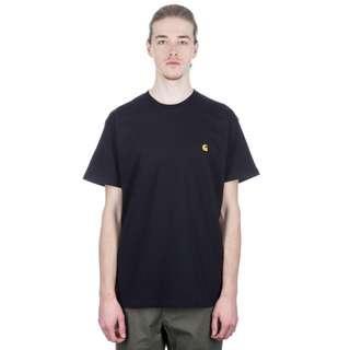 Carhartt WIP 黑色 Black Chase T-Shirt 金色 Logo Tee