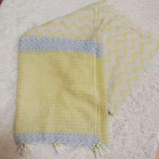 🚚 黃色流蘇薄圍巾/被巾