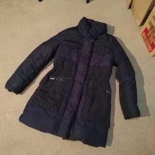 Waterproof blue padded winter coat jacket