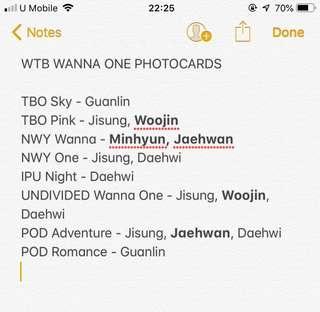 WTB Photocard Wanna One