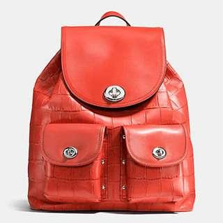 Coach TURNLOCK RUCKSACK IN CROC EMBOSSED LEATHER.  60% OFF Clearance Sales original price: MYR540!