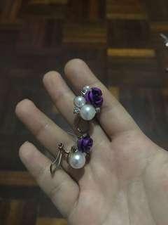 Purple flower + pearl earrings