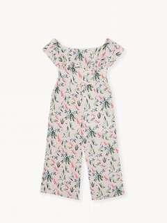 Off Shoulder Culotte Jumpsuit Pink Tropical (POMELO)