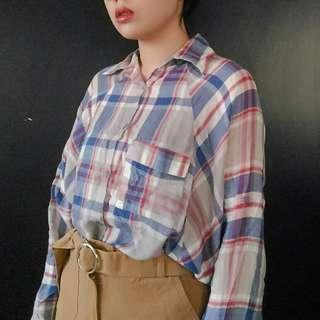 🚚 (免運)格紋寬鬆版型襯衫上衣