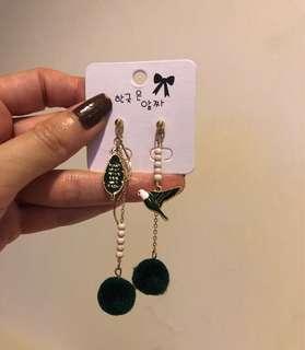 韓國耳環 綠色自由雀鳥