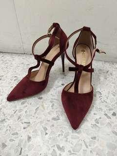 Stiletto velvet high heels