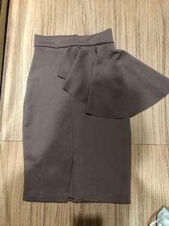 Brown Skirt peplum