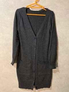 深灰色 針織外套 長版