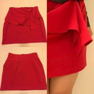 Zara sharp red skirt mini skirt dress wrap knot sexy cute正貨鮮紅色短裙迷你裙半截裙可襯長靴或短靴型格必備靚料中碼修身顯瘦新年好運情人節打扮平讓