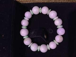 翡翠A玉-紫珠蘋果綠平安扣手鏈