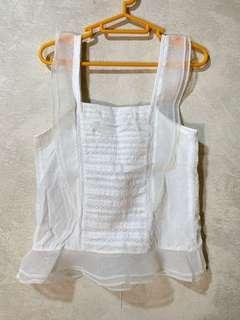 白色 透紗 背心