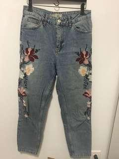 Topshop embroidered flower pants