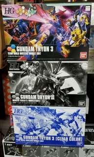 全新 Bandai HG 高達模型 泰坦 III Gundam Tryon 3 一套三盒 原色 特別版 黑魂 彩色透明 鷹 獅 魔鬼魚三機合體