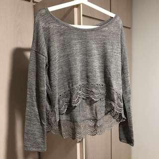 A&F grey one shoulder top