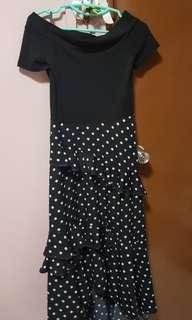 Off-shoulder Polka Dot Dress black maxi #dressforsuccess30