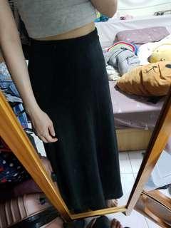 🚚 黑色素面長裙
