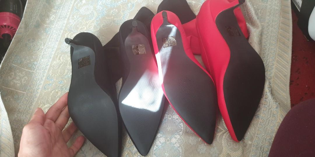 2 pairs of pointed kitten heel sock boots. Black & red.