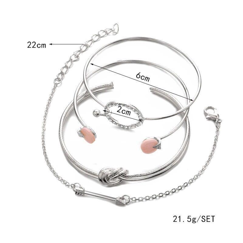 4 Pcs/ Set Classic Arrow Knot Round Crystal Gem Multilayer Adjustable Bracelet Set