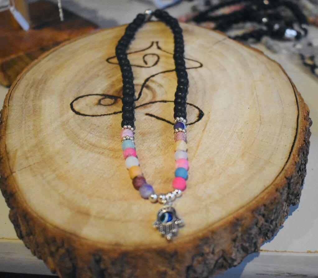 7 Chakra Diffuser Healing Bracelet with Real Stones Volcanic Lava Mala Meditation Double Layer Bracelet Hamsa Hand Evil Eye to Protect you