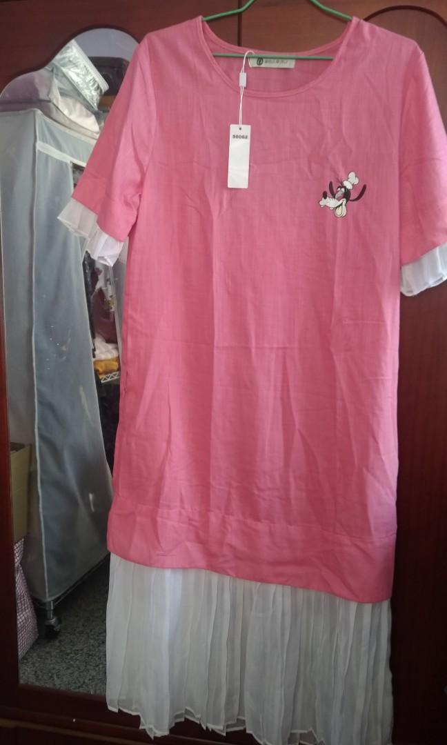 迪士尼人物粉紅洋裝(全新未拆牌)