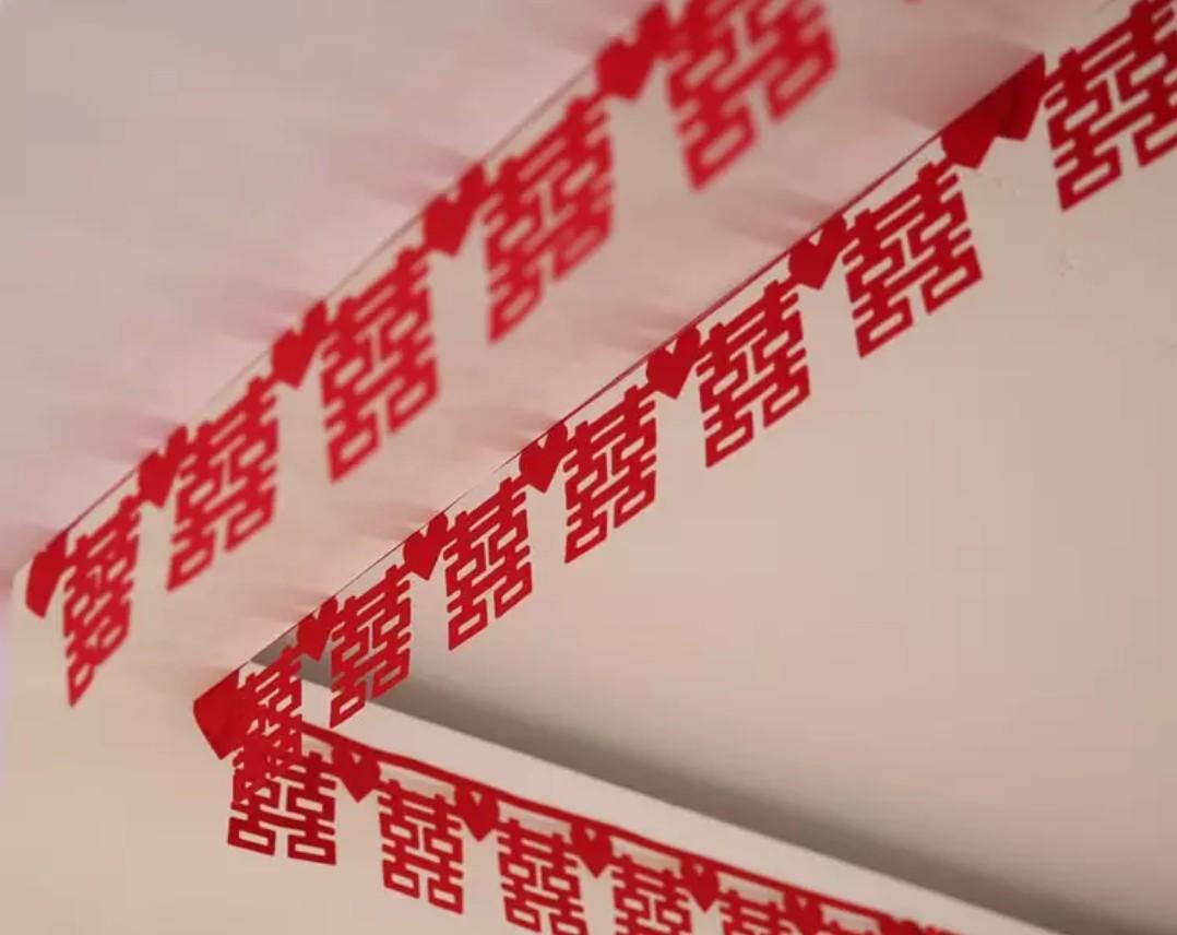 全新 囍字掛飾 結婚 裝飾 雙喜絨布 貼 (一包20條共15米)