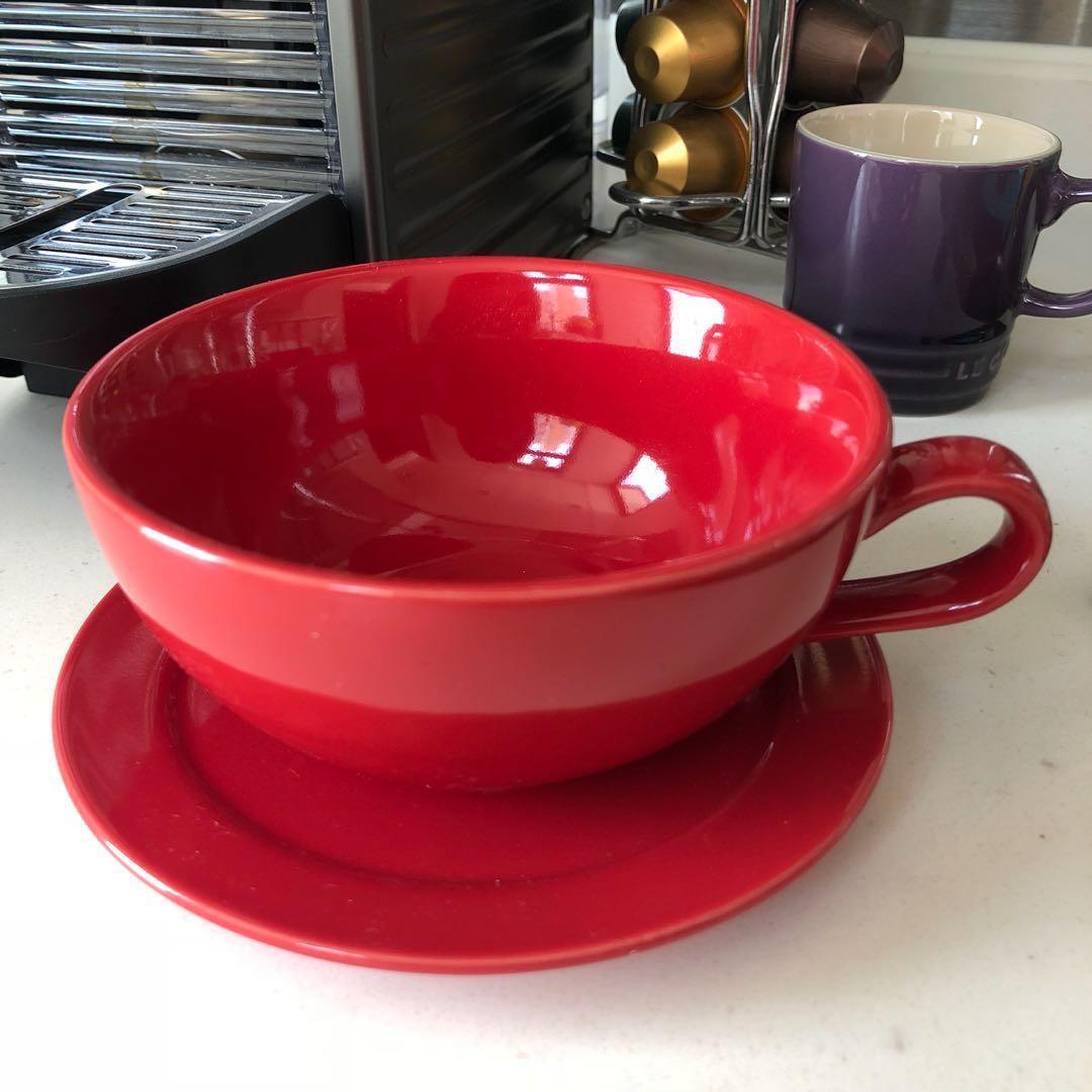 紅色咖啡杯連碟 Red coffee cup set