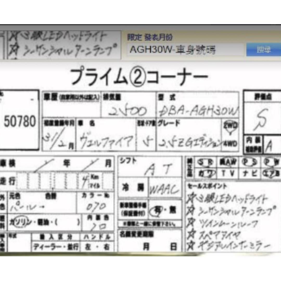 TOYOTA VELLFIRE 全新2.5 2019