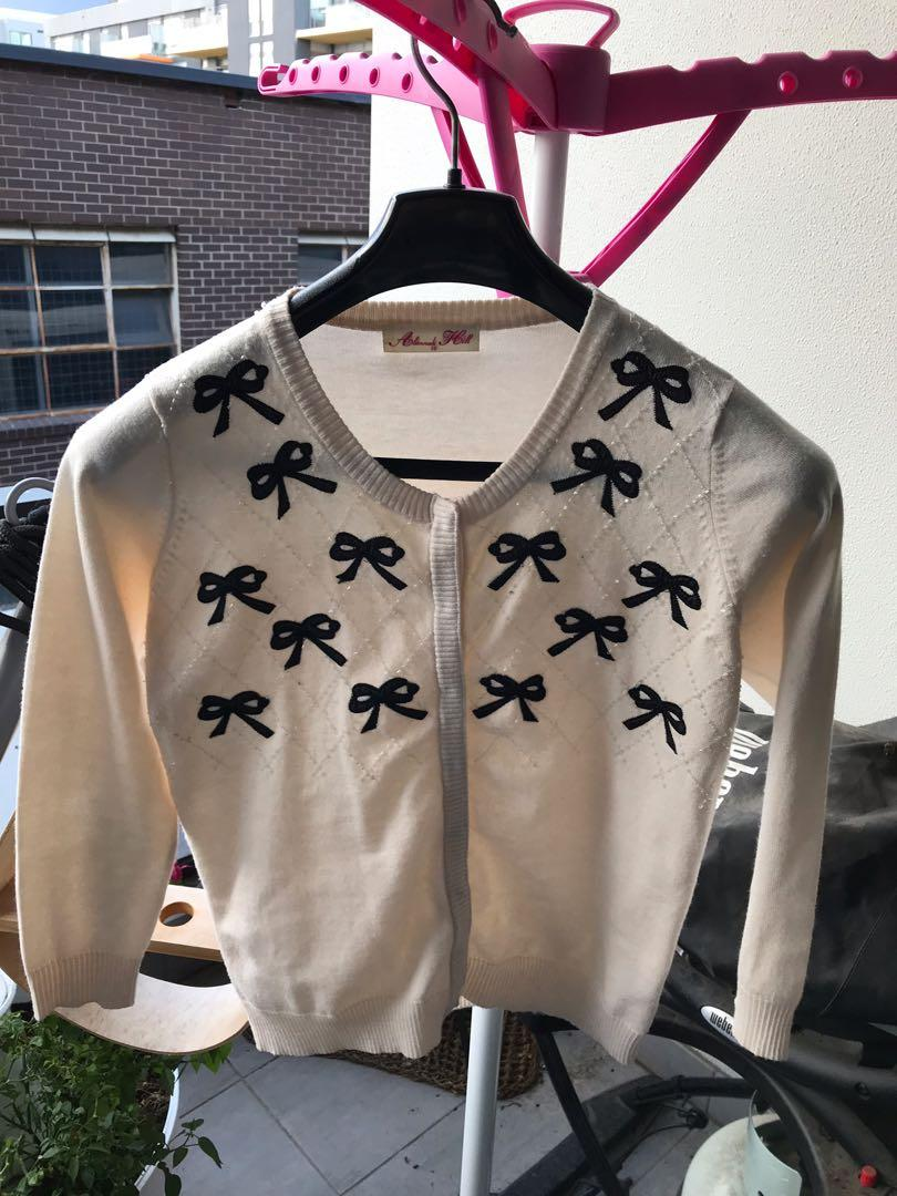Alannah Hill Cream and Black Bow Cardigan with beading