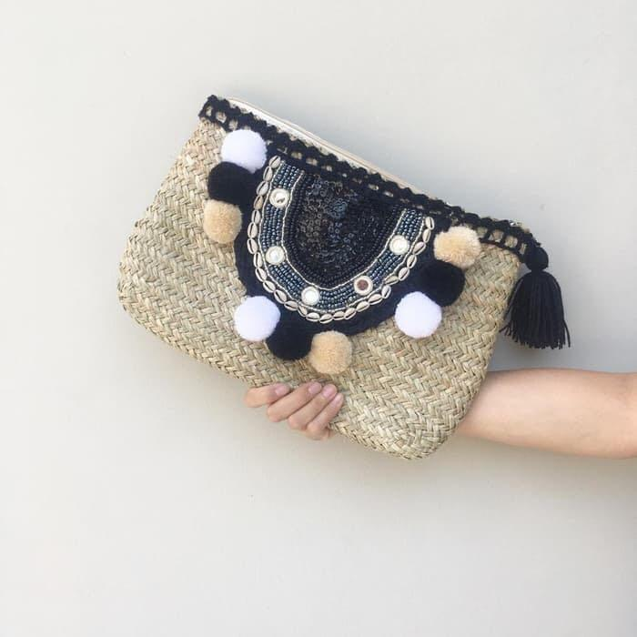 Bali handwoven straw purse with pompom rattan wicker bag pom pom