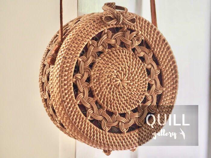 Bali Round Rattan Woven Bag Handwoven Straw Wicker Basket Purse