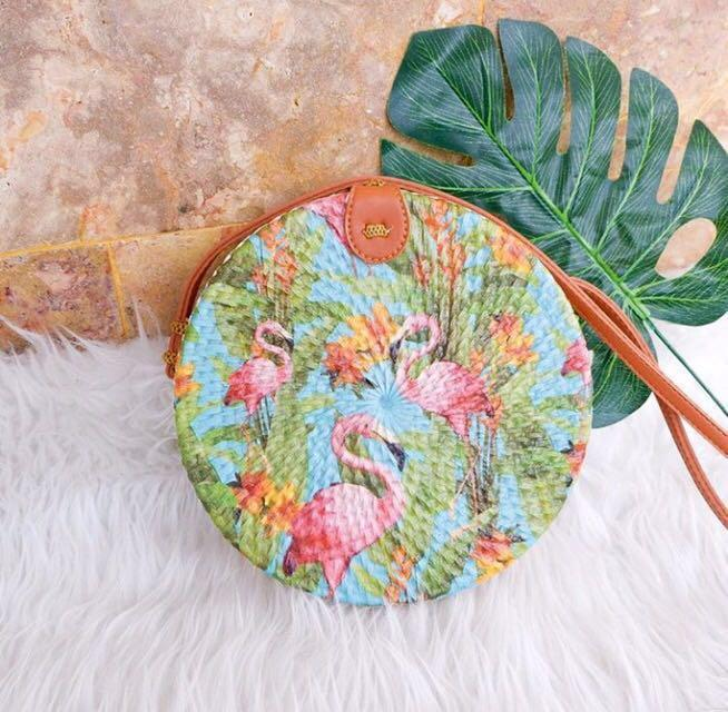 Bali Round Woven Rattan Bag White Deco Flamingo Tropical Beach Straw Wicker Basket