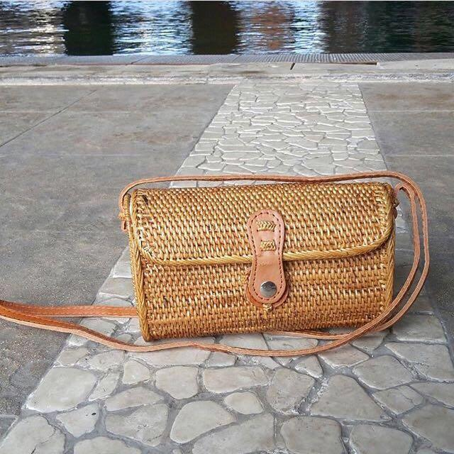 Bali Woven Rattan Bag Handwoven Straw Clutch Wicker Purse