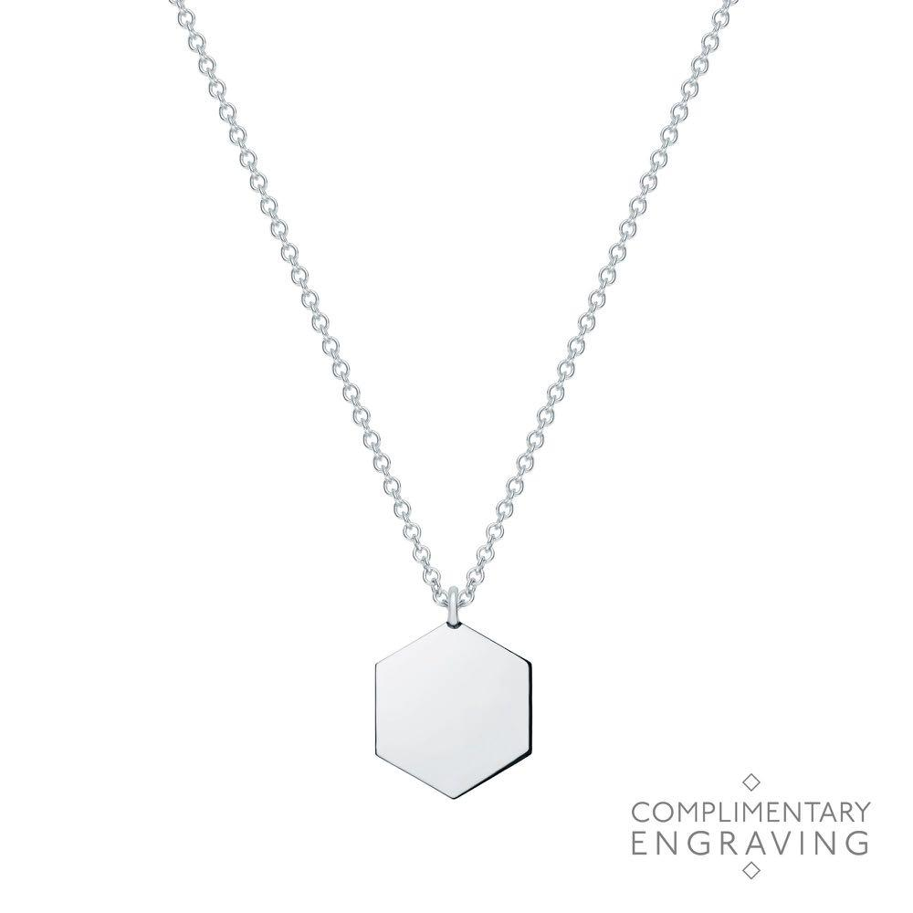 Birks Engravable Polished Silver Hexagon Pendant with Letter C