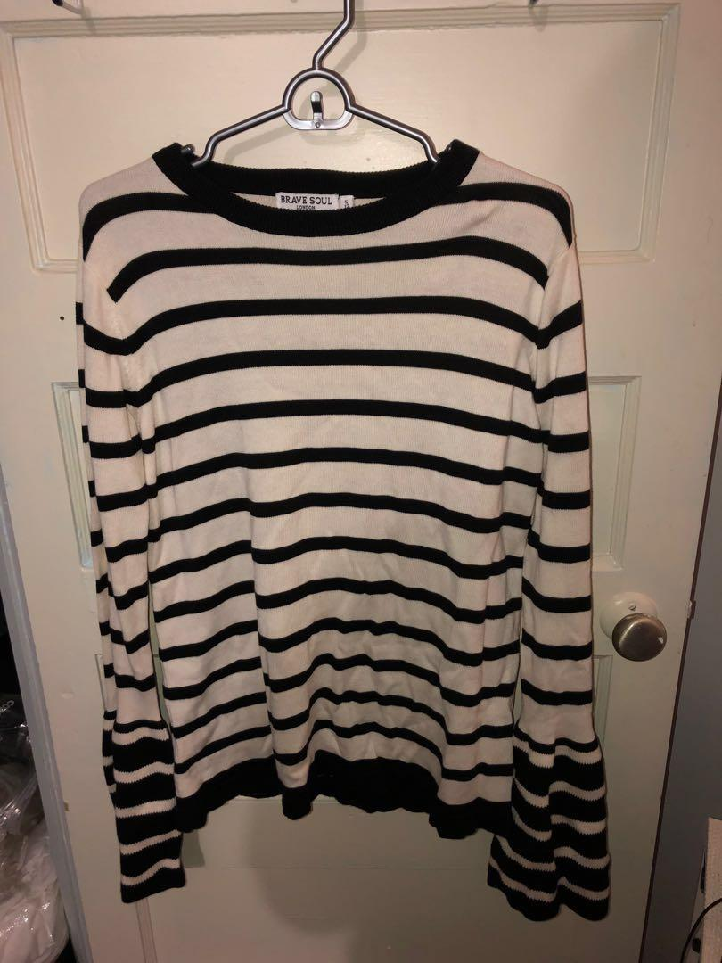 BNWT BRAVE SOUL striped jumper with contrast flare sleeves. S *PRICE DROP*